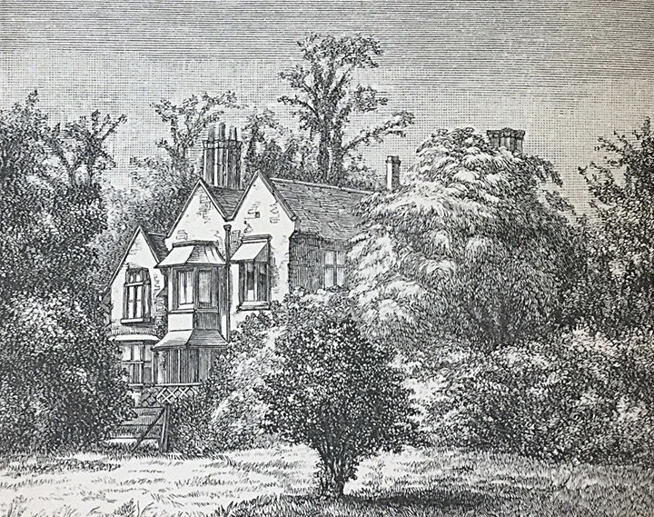 "Fitzgerald's home, ""The Little Grange"", in Woodbridge, Suffolk, where Calderón's plays and Omar Khayyam's poetry were translated. Sketch from   Letters and Literary Remains of Edward Fitzgerald  , Vol. II, London,1889."