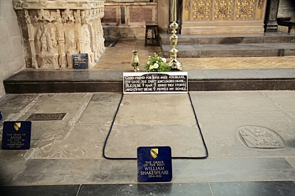 Shakespeare's grave in Holy Trinity Church, Stratford-Upon-Avon (with that of his wife Anne to the left)                                                                   ©Edward Burman
