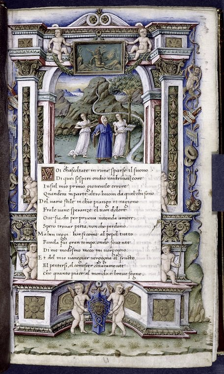 Petrarch (in blue) at the Fountain of Vaucluse, in France, near the abbey which was his favourite residence. From the New York Public Library