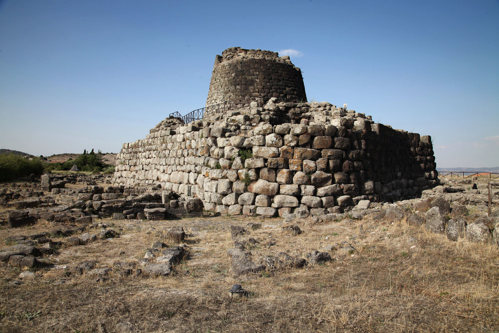 The nuraghe of Santu Antine, in northern Sardinia, showing the conical tower and drystone structure of ancient roughly-worked boulders.