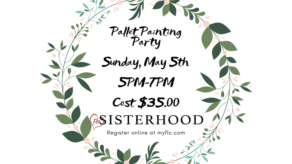 Join us for a ladies night filled with fun, laughter and friendships. Registration includes pasta dinner, pallet and supplies. Please bring a dessert.