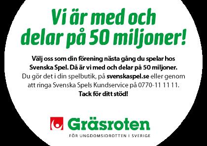 SVENSKA SPEL - GRÄSROTEN  Svenska spel delar varje år ut 50 miljoner kronor till föreningslivet i Sverige. Ett projekt som heter Gräsroten,där potten varje år fördelas ut baserat på föreningens intjänade poäng. Välj därför oss när du registrerar din fadderförening hos svenska spel. Då ökar våra poäng vilket innebär mer pengar till klubbens juniorverksamhet.