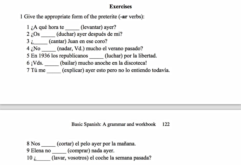 Spansk: Opgaver, Præteritum, -AR verber