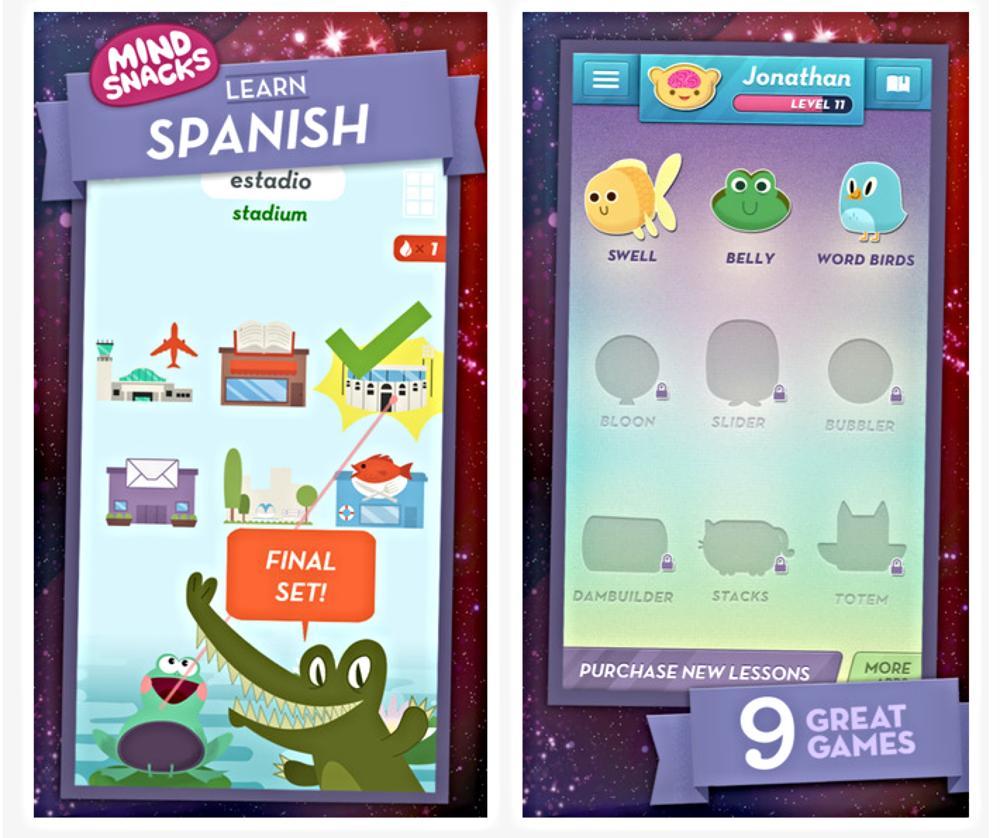 Mind Snacks består af en række spil, der vil hjælpe dig til at bygge dit ordforråd på en sjov måde.