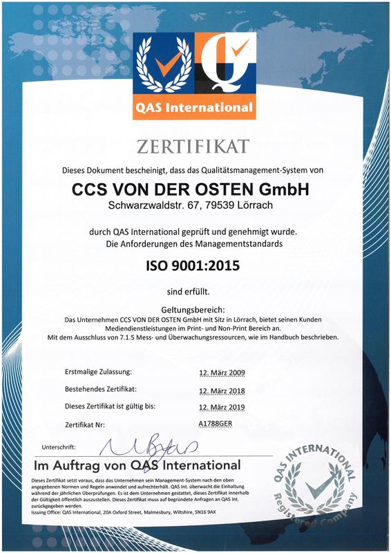 Zertifikat erneuert - Am 12.03.2018 konnte CCS erneut überzeugen und hat das neue ISO 9001:2015 Zertifikat erhalten.
