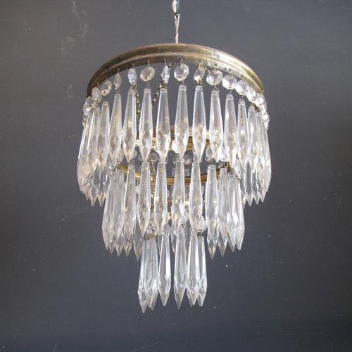 Vintage french brass chandelier with 3 tier waterfall icicle glass vintage french brass chandelier with 3 tier waterfall icicle glass crystals aloadofball Image collections