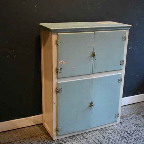 Vintage White And Blue Kitchen Cabinet Larder