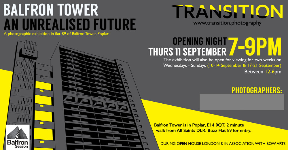 Poster from our September 2013 exhibition in Balfron Tower and visitors to the exhibition in Flat 89 (below)