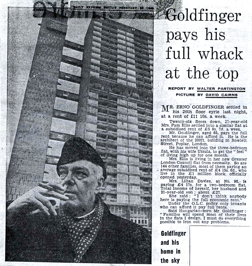 Press coverage of Goldfinger's stay at Balfron Tower – Daily Express 28 February 1968