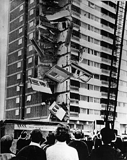 The collapse of Ronan Point in Newham, 1968