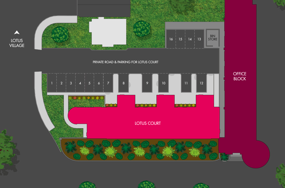 Site Plan for Lotus Court Development