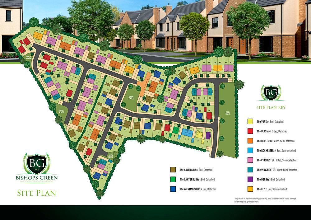Site Plan for Bishops Green Development