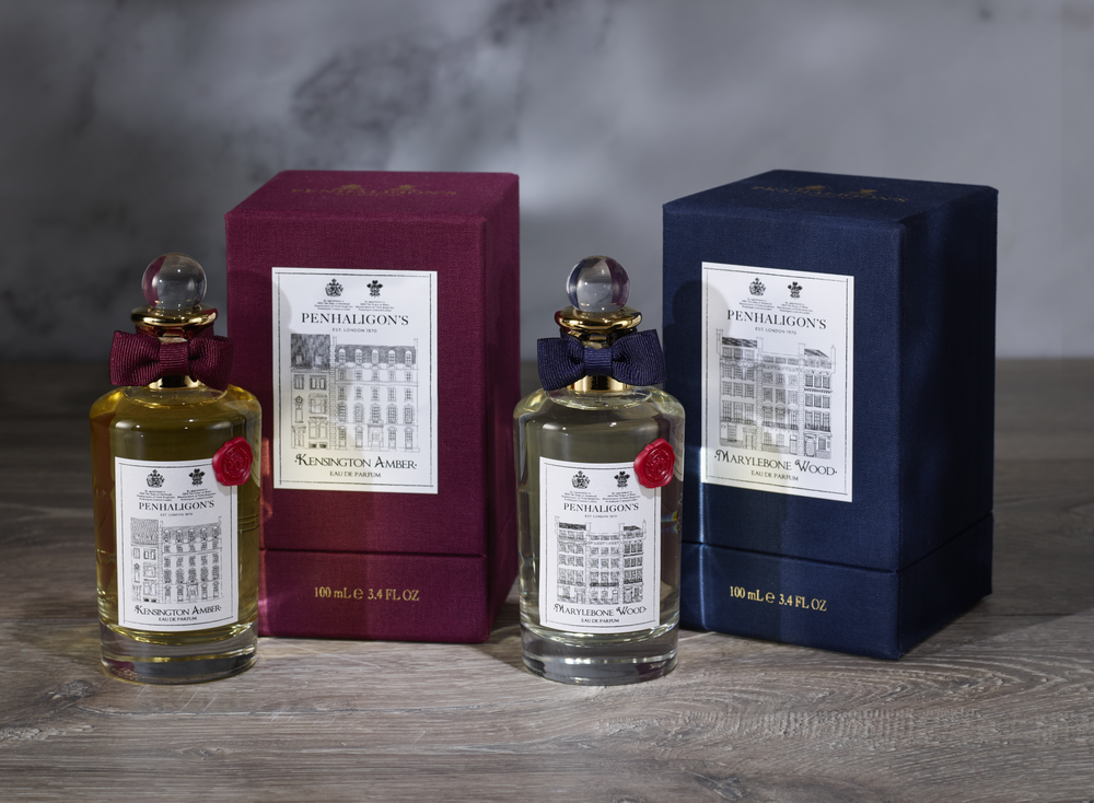 Portfolio Penhaligons  Kensington Amber & Marylebone Wood Packaging with bottles.png