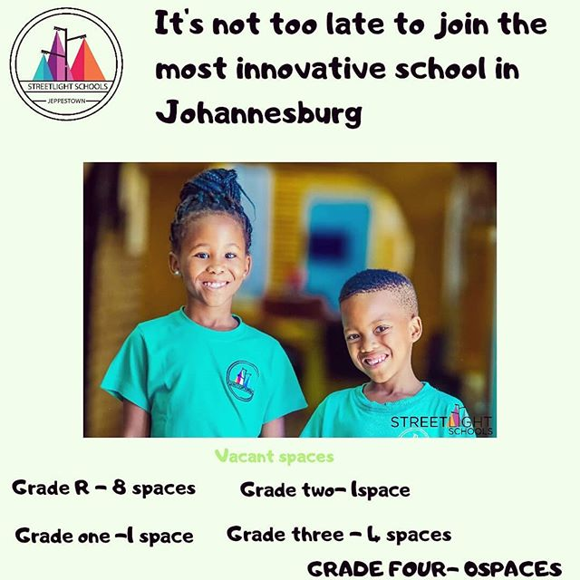 Your little one still has a chance to be a member  of our family. Contact hello@streetlightschools.org  for more information.  #streetlightschools #education #learning #vacantspaces #schoolsinjhb #primaryeducation #primaryschool #jeppeparkprimary
