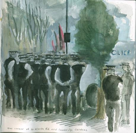 Class War rally, Oxford Gardens, London