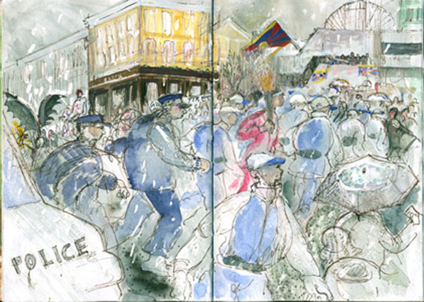 Olympic Torch, Ladbroke Grove- pro Tibet protest