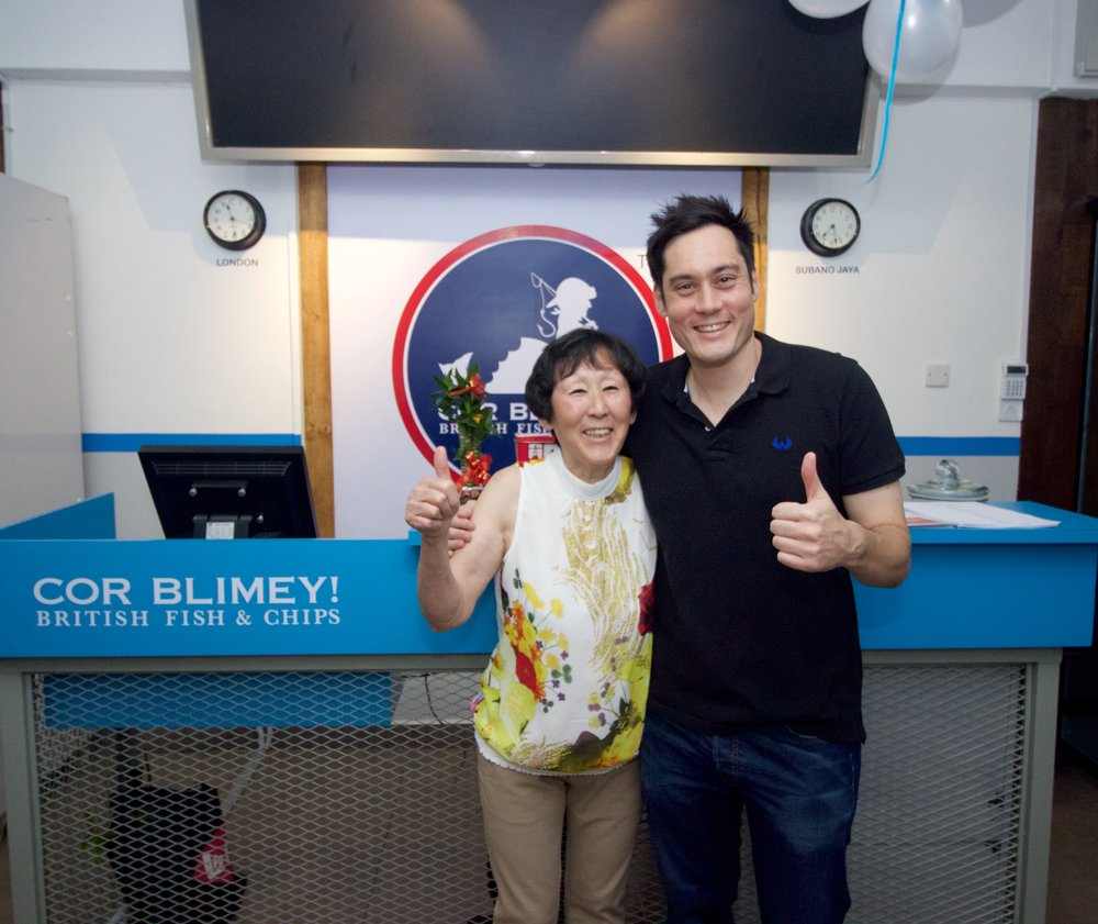 Mr.Adam Hanrahan with his Beautiful Malaysian Chinese mom on the first opening Day of CorBlimey!