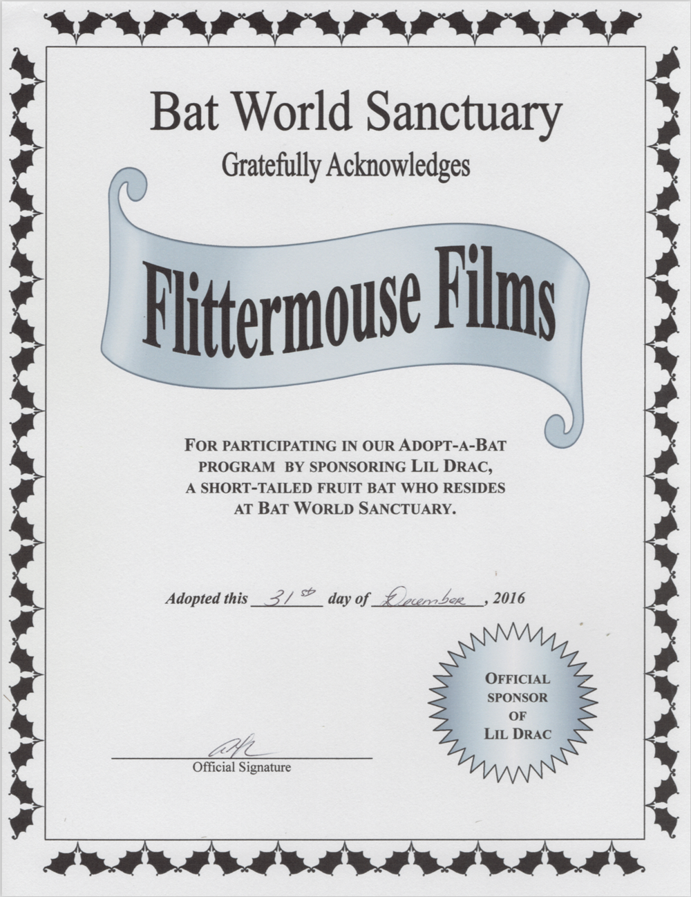 Flittermouse Films - Official Sponsor of Lil' Drac!