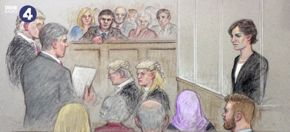 An courtroom artist's impression of the fictional trial, created for Radio 4 by Julia Quenzler