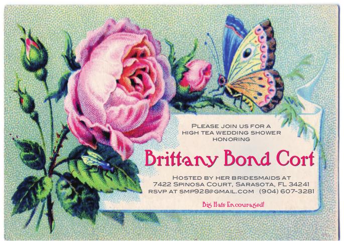 Custom vintage tea bridal shower invitation for a tea party wedding shower