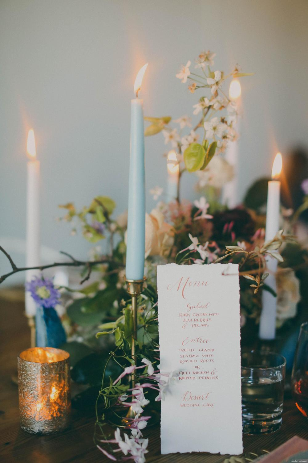 Copper calligraphy and romantic deckled edge for a special dinner menu - photography by Jennifer Woodbery Photography