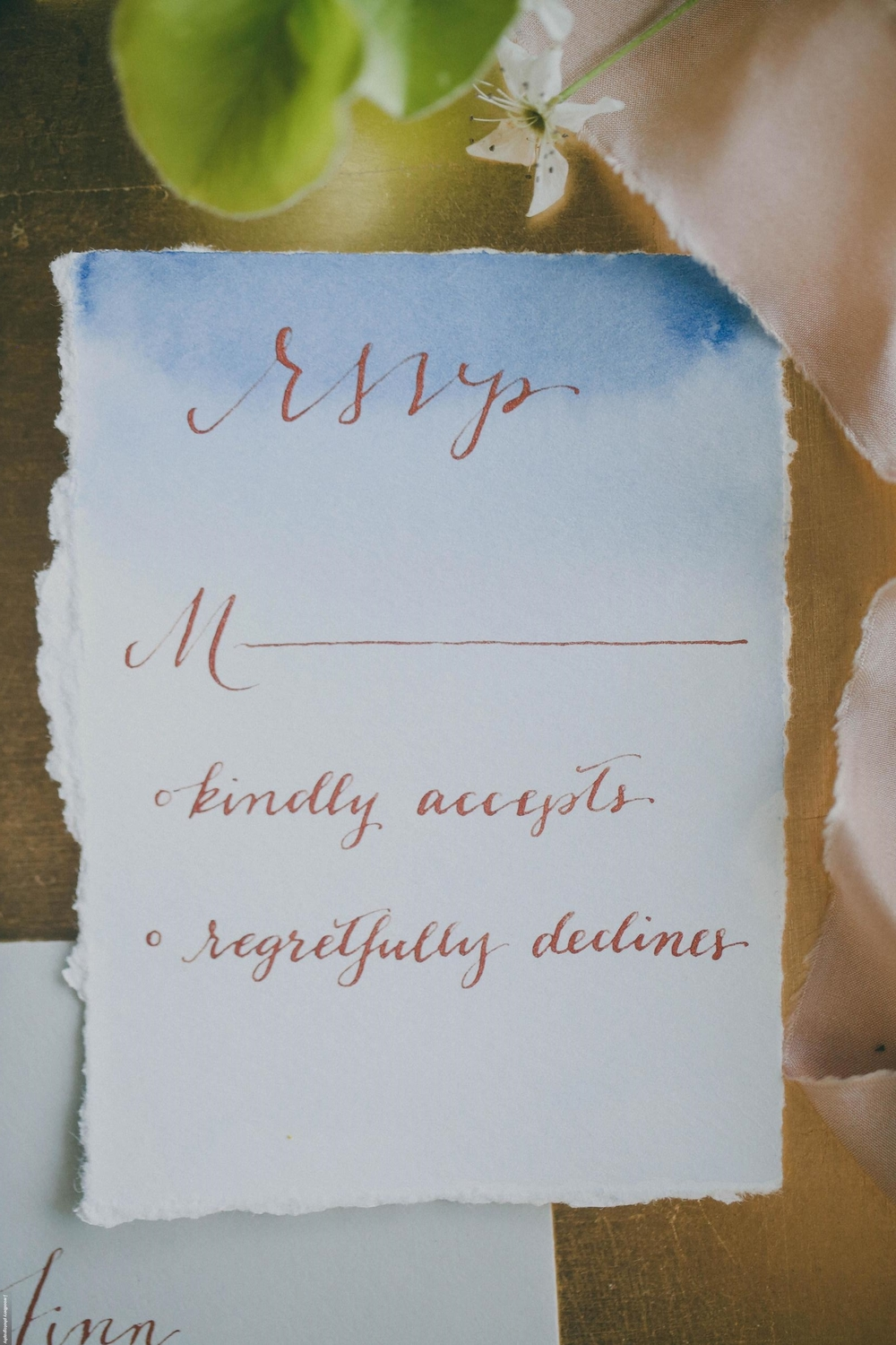 Blue Watercolor Wedding RSVP Card with Copper Calligraphy