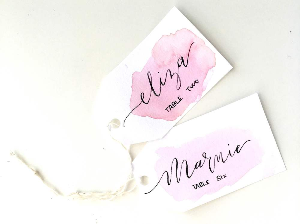 Watercolor place card tags