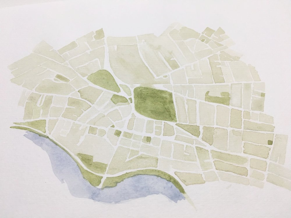 cambridge massachusetts watercolor map