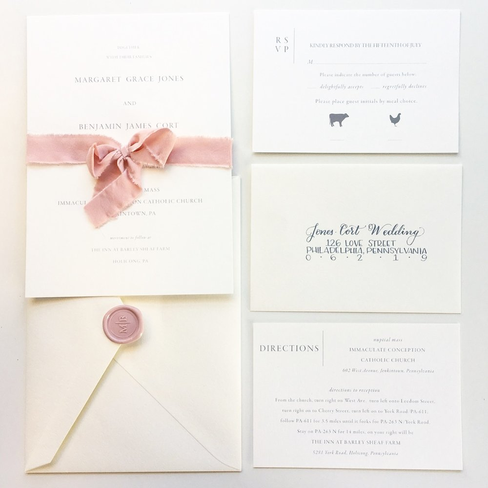 modern ribbon vintage romantic soft blush wedding invitation