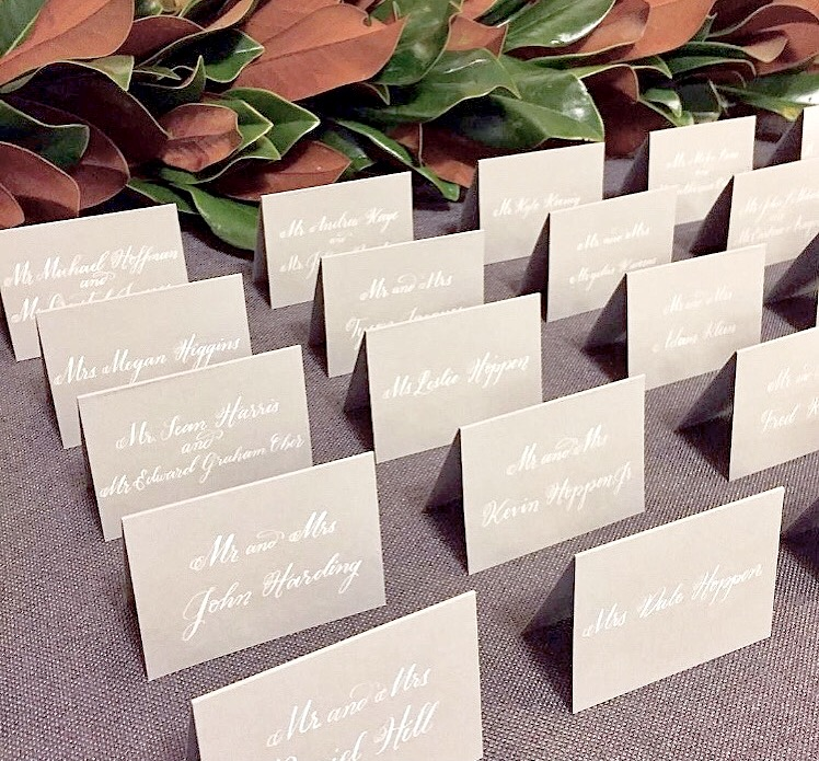 Place Cards Grey White Calligraphy Boston Providence Wedding Calligraphy Calligrapher.jpg