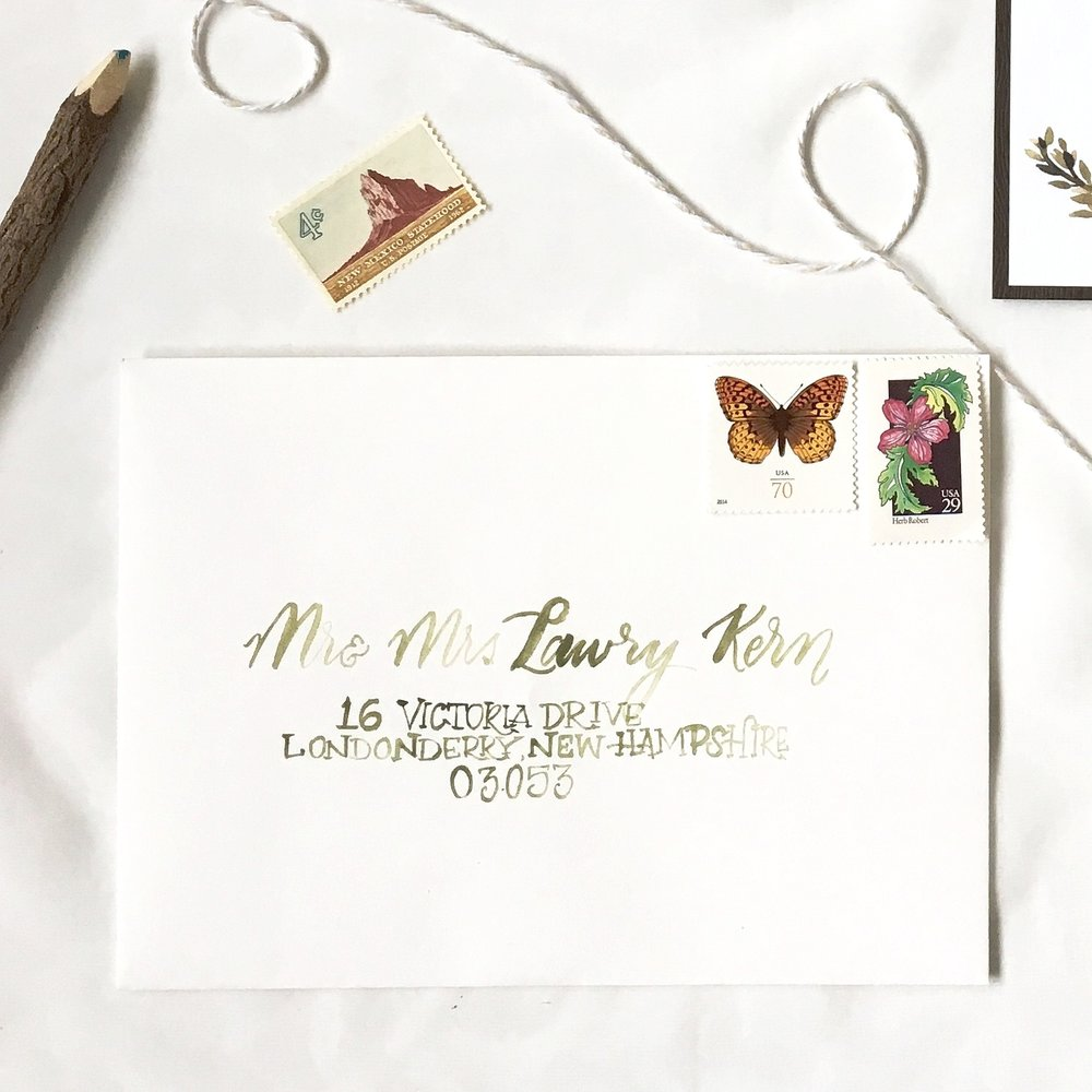 Wedding Invitation - Woodland watercolor romantic vintage calligraphy handpainted.jpg
