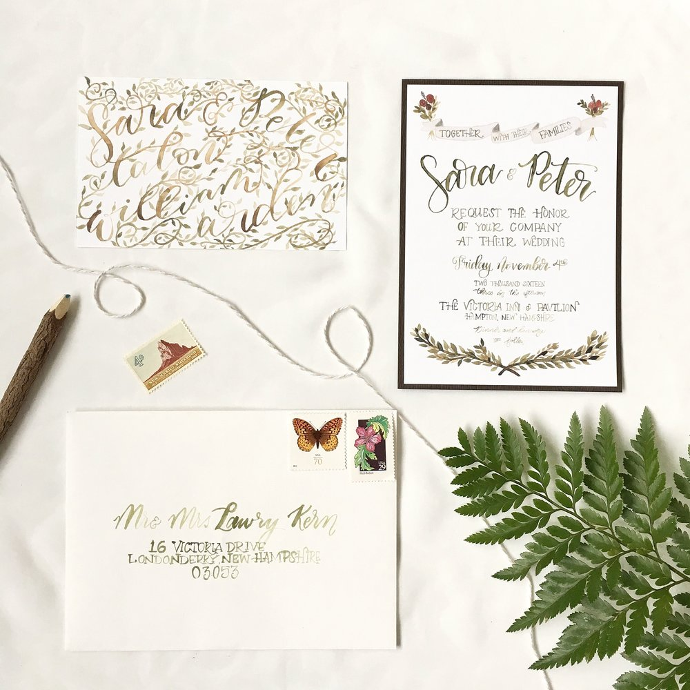 vintage woodland rustic vine fern watercolor brush lettering calligraphy hand lettering anthropologie wedding invitation