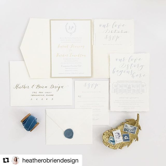 Some days I get to work with amazing designers who happen to be friends. I completed this venue sketch a few months back for a stationery friend of mine who worked with a darling couple and made magic happen 💕 She's also got some fabulous semi-custom collections so head over to @heatherobriendesign To check her out  #Repost @heatherobriendesign with @get_repost ・・・ Happy wedding day to Sarah and Parker!! 💕💕 I have enough every step of working with these two on this perfect suite. We combined beautiful country blue letterpress with gold foil names 😍 and topped it off with a matching wax seal and some deckled edges. I mean, seriously. Does it get any better!? And can we just admire the beautiful venue sketch of Timuquana Country Club by @eb_calligraphy!  Spoiler alert... you may or may not see a variation of this beauty in our new Wedding Collection that will be launching in August 💌  I know today will be perfect for the two of you and I wish you all the happiness!!😘 #sketch #weddingstationery #dailydoseofpaper #paperlove #love #stationerycrush #communityovercompetition
