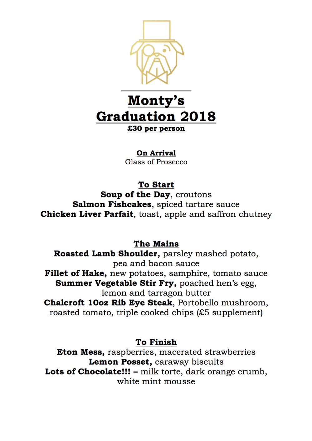 Portsmouth University Graduation Special Menu