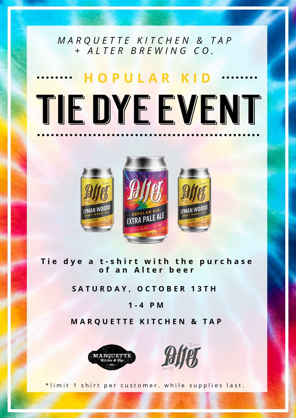 Marquette Kitchen & Tap | Alter Brewing Tie Die