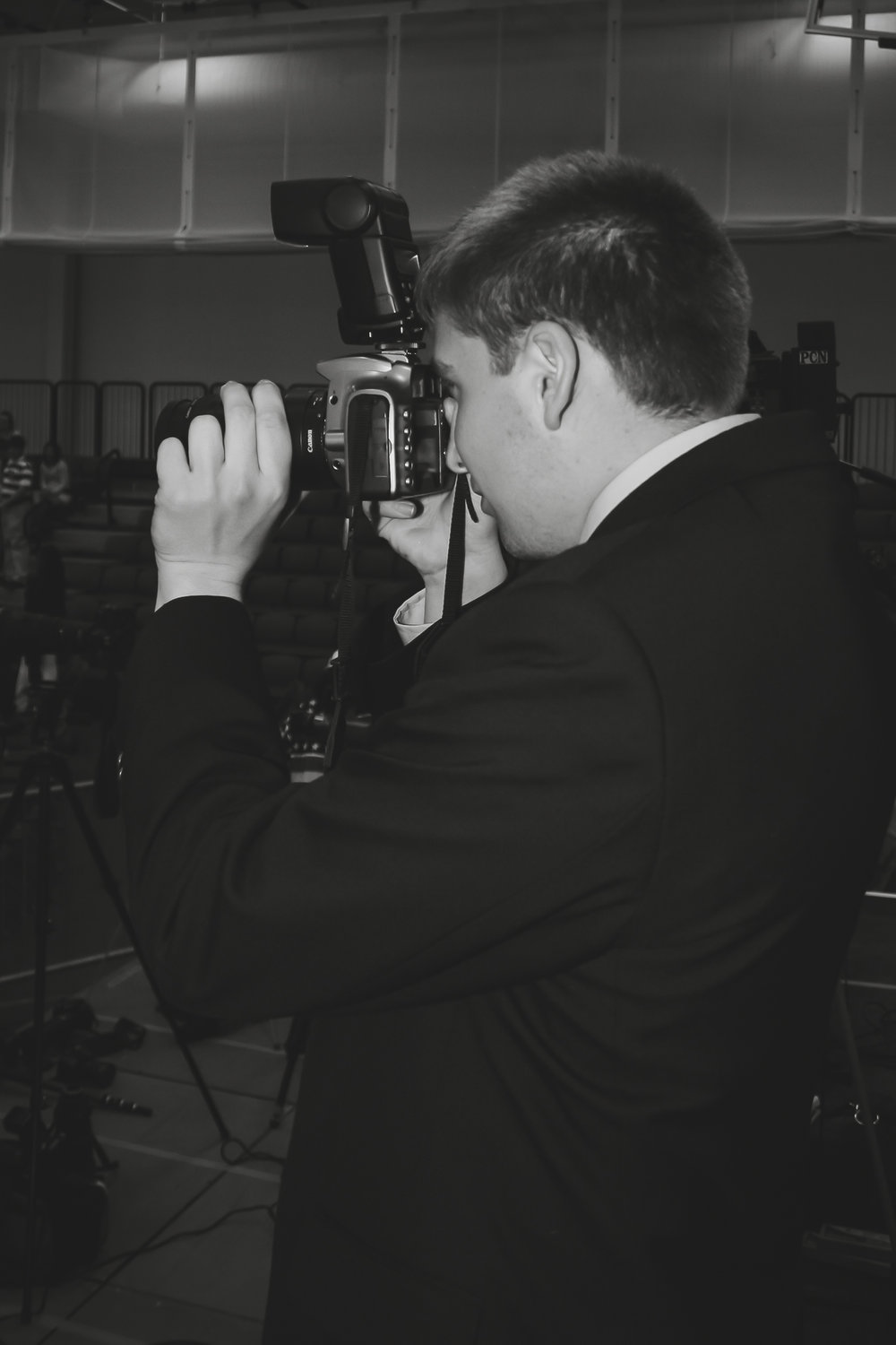 Shooting photos during my first year with the Behrend Beacon newspaper in early 2008.   Photo by Keegan McGregor