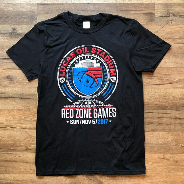 SUNDAY FUNDAY! 🏈 Ready for some football on this warm Fall day. We were honored to print these tees for the Red Zone Games. #lucasoilstadium #redzonegames #screenprinting #indianapolis