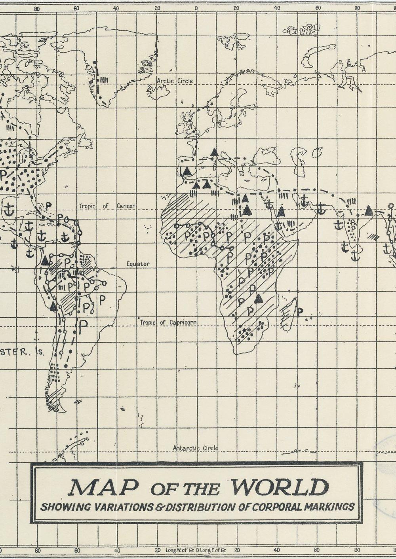 """Die 1925 von dem Ethnologen Wilfrid D. Hambly (1886- 1962) in """"The History of Tattooing and its Significance"""" veröffentlichte Karte unternimmt den Versuch, die weltweite Verteilung von Körperbemalungen, Tätowierungen und Skarifizierungen darzustellen."""