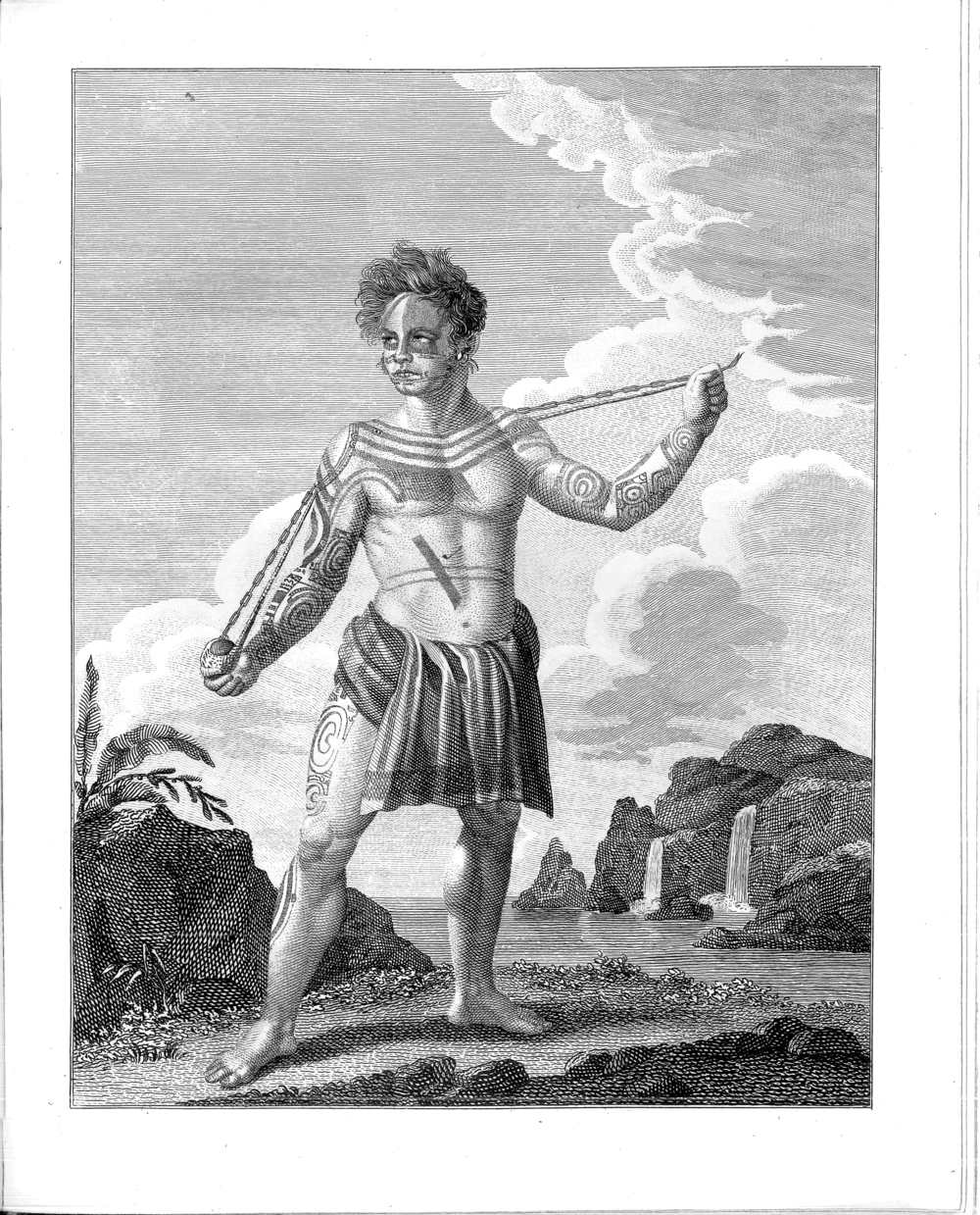 Portrait of the Frenchman, Jean Baptiste Cabri, found on the island of Nukahiwa, presented as a slingshot wielder, engraved by Orlovsky, from GH v. Langsdorff's remarks on a journey around the world, 1812