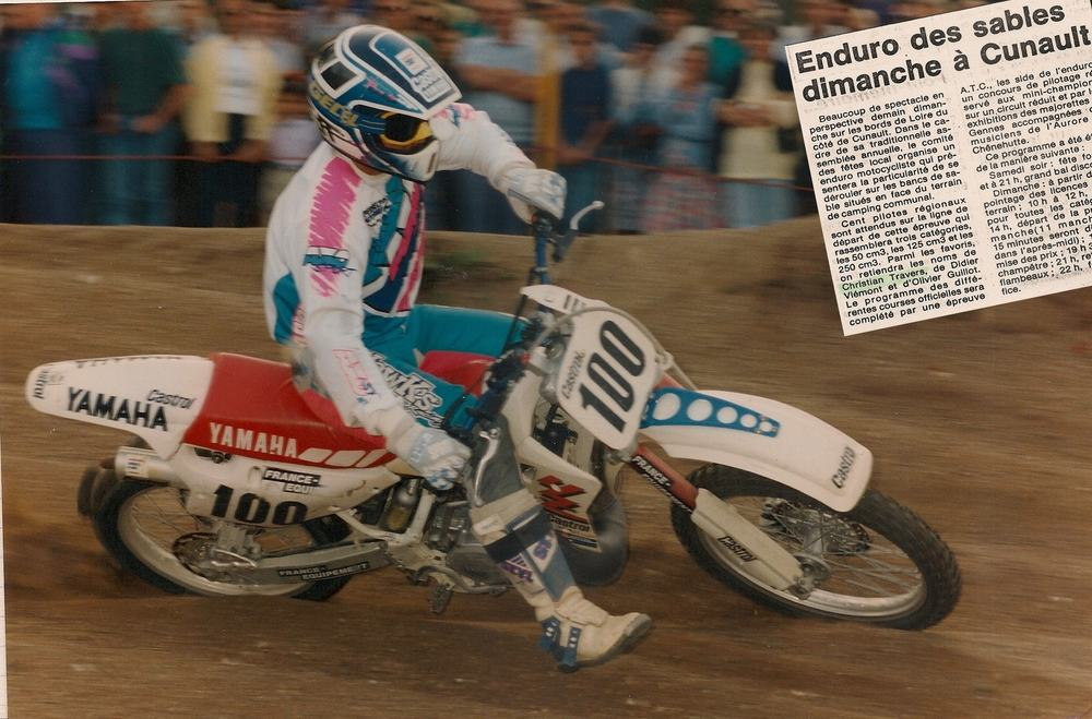 """Christian on his Yamaha YZ250, racing and winning his 6th """"Enduro Des Sables:Jean Noel Pineau Trophy""""in the Loire in 1990."""