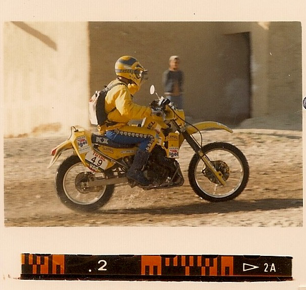 Christian riding through one of the many small towns during the Atlas Rally 1987