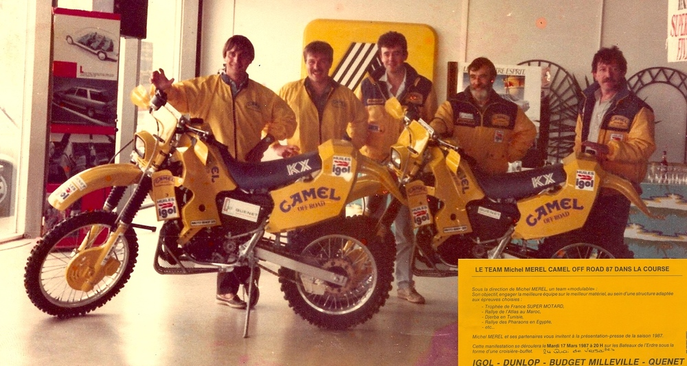 Christian (second from the left) at his motorcycle racing team press launch in 1987.