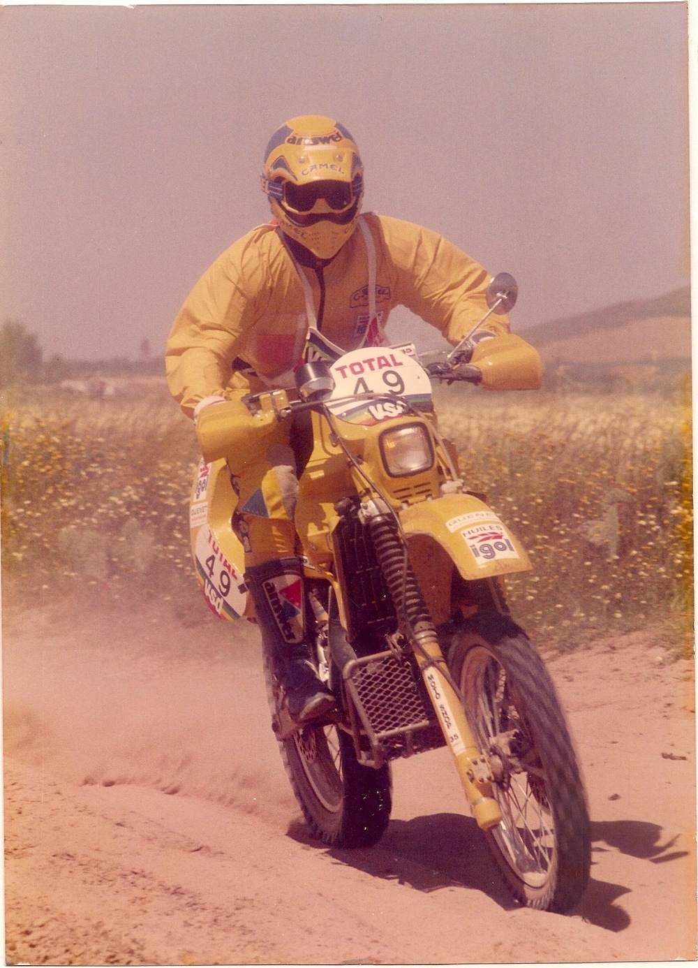 Christian Travert during the 1987 Atlas Rally in Morocco, a couple days before his engine seizure.