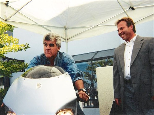 Christian (Right) when he delivered the Y2K helicopter turbine equiped motorcycle to Jay Leno (left)