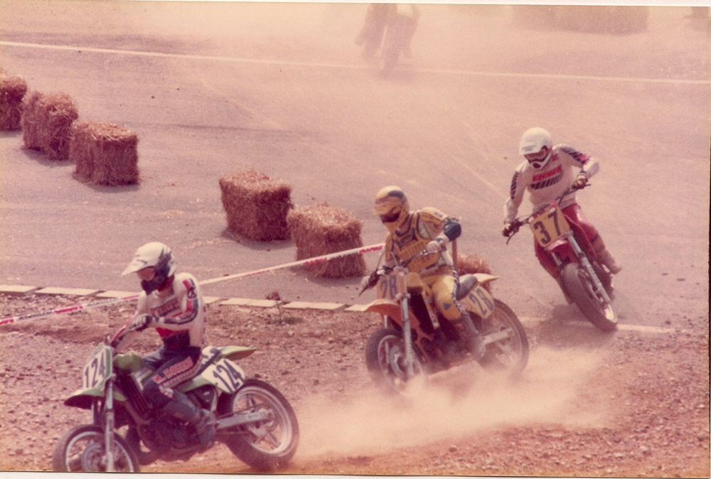 Supermoto race 1988 in France,Christian is number 28.