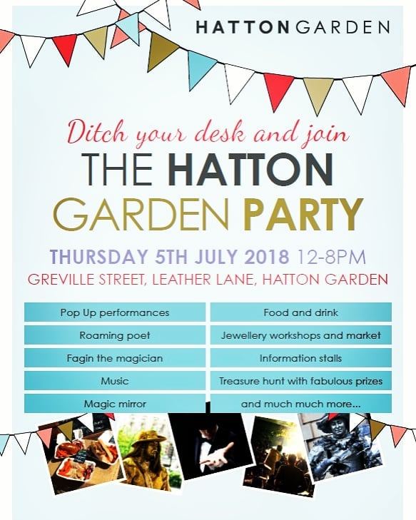 Come join us for the Hatton Garden Party on the 5th July!! 💎🎉 Think food, drink, jewellery making, markets, games and music! #hattongdnparty #discoverhattongdn #party #star #jewellers #hattongarden #london #diamonds #jewellery #fashion #happy #fun #trend #inspiration #wedding #music