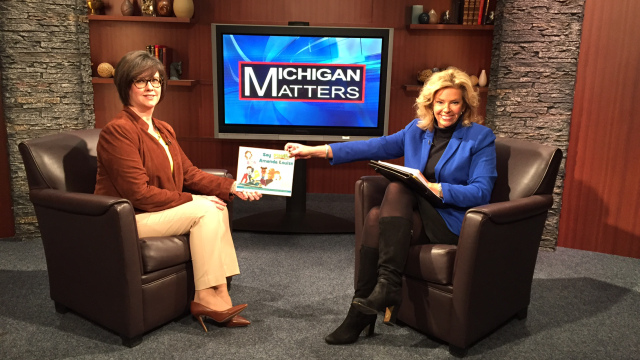 Author Whitney Pytlowany on the Michigan Matters set for a special author episode with with host Carol Cain. (credit: CBS 62)