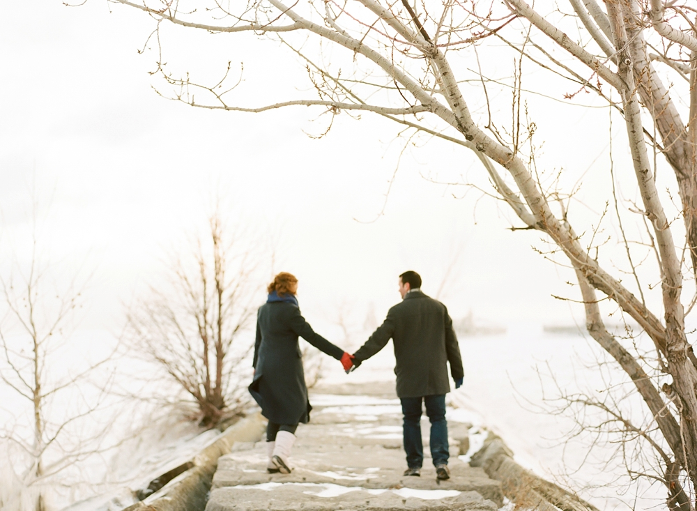 Engagement Photos on Lake Erie in Winter