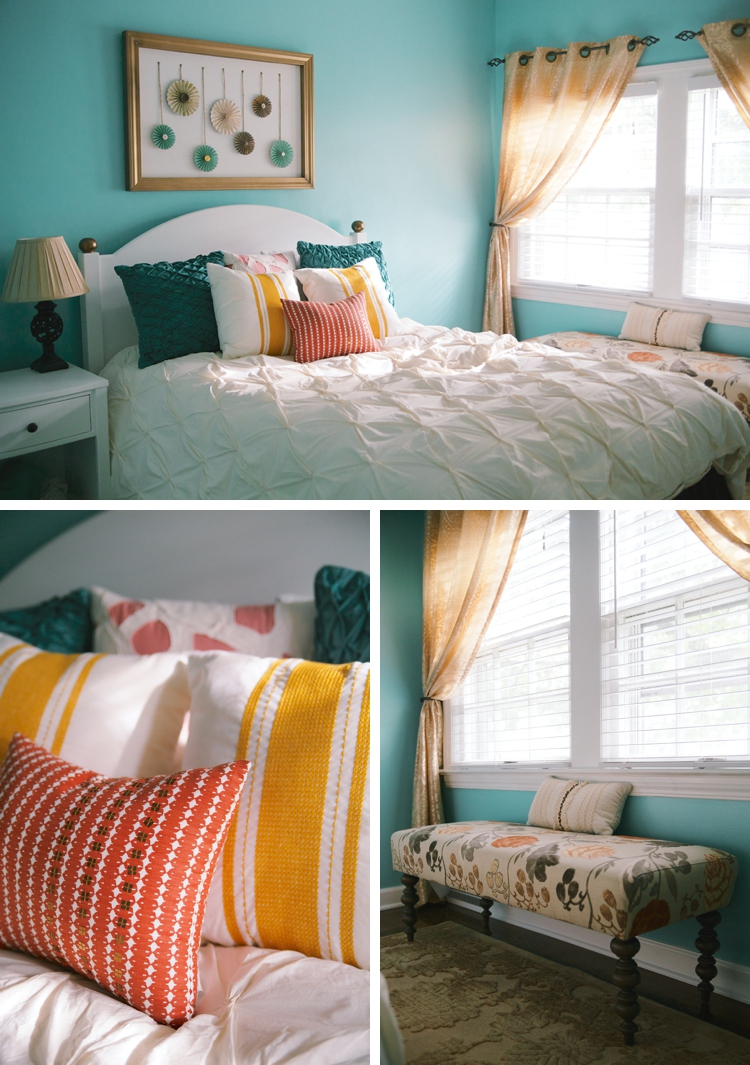 Gold and Aqua Bedroom Makeover