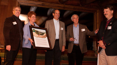 Stewardship Award Presentation (L-R) Bill Farber, Lani Ulrich, Brian Houseal, Colin Bradford, Tom Williams